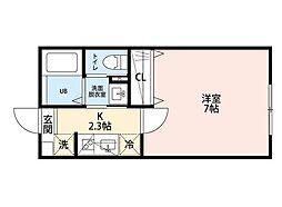 JR総武線 西千葉駅 徒歩18分の賃貸アパート 2階1Kの間取り