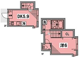 JR総武線 水道橋駅 徒歩12分の賃貸テラスハウス 2階1DKの間取り