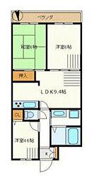 神奈川県横浜市青葉区上谷本町の賃貸マンションの間取り
