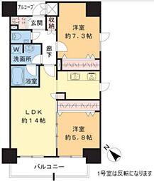 TEC Green Residence 13階2LDKの間取り