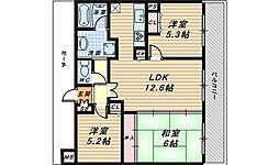 大阪府堺市堺区新町の賃貸マンションの間取り