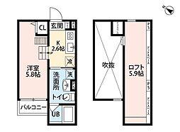阪神なんば線 千鳥橋駅 徒歩15分の賃貸アパート 1階1Kの間取り
