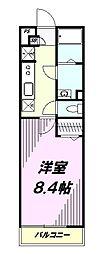 JR中央線 西八王子駅 徒歩15分の賃貸マンション 3階1Kの間取り