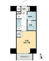 JR山手線 大崎駅 徒歩10分の賃貸マンション 4階1Kの間取り