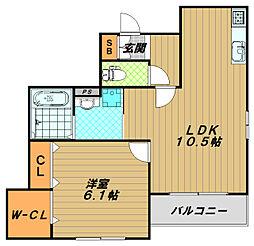 メゾンベールひじりの杜[1階]の間取り