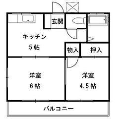 琉久屋荘[201号室]の間取り