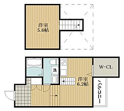 JOYFUL・HOUSE今川 1階ワンルームの間取り