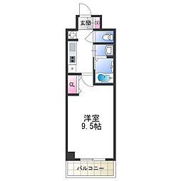 セブンレジデンス日本橋 4階1Kの間取り