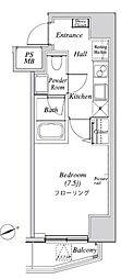 ニューガイア リルーム芝 4階1Kの間取り