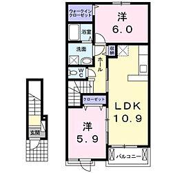愛知県岡崎市法性寺町字北浦の賃貸アパートの間取り