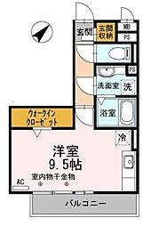 JR御殿場線 御殿場駅 徒歩7分の賃貸アパート 3階ワンルームの間取り