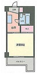 ホワイトマンション西新[503号室]の間取り