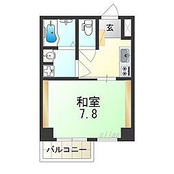 JR大阪環状線 今宮駅 徒歩8分の賃貸マンション 2階1Kの間取り