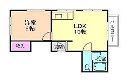 エルメゾン中桜塚[3階]の間取り