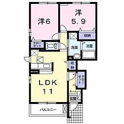 愛知県豊橋市神野新田町字ヘノ割の賃貸アパートの間取り