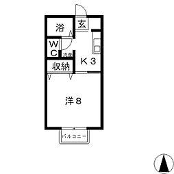 ウィング神田 A[205号室]の間取り