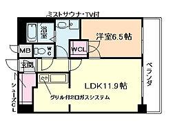 アドバンス西梅田II 11階1LDKの間取り