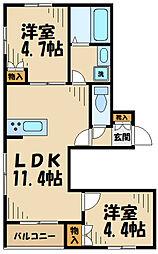 MKレジデンス I 1階2LDKの間取り