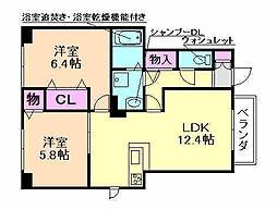 大阪府豊中市利倉1丁目の賃貸アパートの間取り