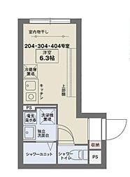 京王線 代田橋駅 徒歩6分の賃貸マンション 4階ワンルームの間取り