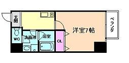 JR東西線 海老江駅 徒歩7分の賃貸マンション 6階1Kの間取り