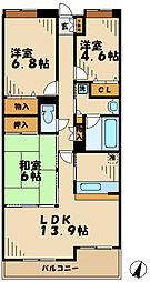 神奈川県厚木市妻田東3丁目の賃貸マンションの間取り