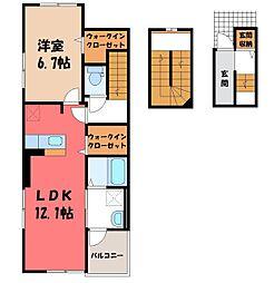 JR東北本線 雀宮駅 徒歩12分の賃貸アパート 3階1LDKの間取り