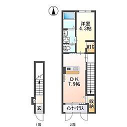 JR武蔵野線 吉川駅 徒歩16分の賃貸アパート 2階1DKの間取り