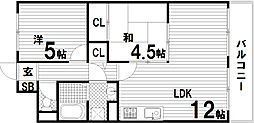 サニーコート鷹取[1階]の間取り