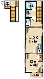 JR武蔵野線 府中本町駅 徒歩12分の賃貸マンション 2階1LDKの間取り