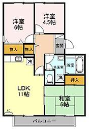 東武東上線 川越駅 徒歩15分の賃貸アパート 2階3LDKの間取り