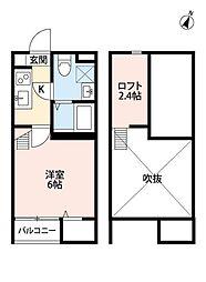 東武野田線 新柏駅 徒歩5分の賃貸アパート 2階1Kの間取り