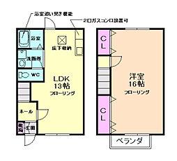南テラスハウス 2階2LDKの間取り
