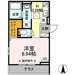 都営新宿線 篠崎駅 徒歩5分の賃貸アパート 1階1Kの間取り