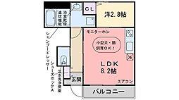 福岡市地下鉄七隈線 次郎丸駅 徒歩10分の賃貸アパート 1階1LDKの間取り