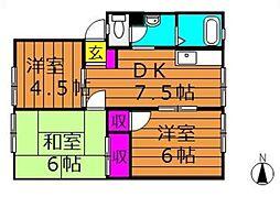 アンダンテ福井 A[1階]の間取り