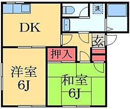 千葉県千葉市若葉区桜木5丁目の賃貸アパートの間取り