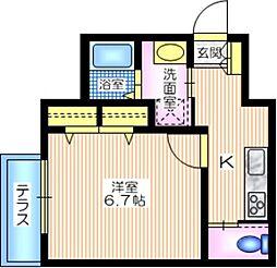 京急本線 戸部駅 徒歩9分の賃貸マンション 1階1Kの間取り