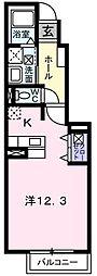 南海高野線 萩原天神駅 徒歩12分の賃貸アパート 1階1Kの間取り