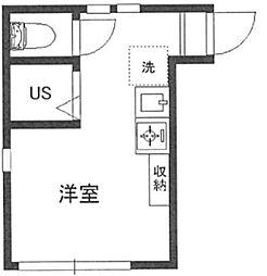 レジェンドハウス目白台 2階ワンルームの間取り