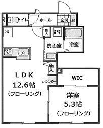 ウィステリアガーデン 1階1LDKの間取り