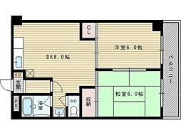 第3マンション北[4階]の間取り