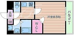 阪急千里線 豊津駅 徒歩6分の賃貸マンション 1階1Kの間取り