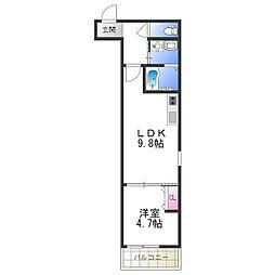 Osaka Metro谷町線 平野駅 徒歩8分の賃貸アパート 2階1LDKの間取り