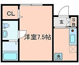 リプル横浜 1階ワンルームの間取り