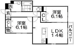 D-room伊加賀西町 2階2LDKの間取り