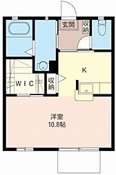 JR武蔵野線 西浦和駅 徒歩6分の賃貸アパート 1階ワンルームの間取り