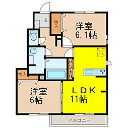 (仮)D-room西城南A[1階]の間取り