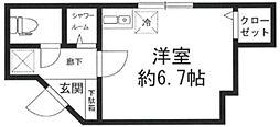アヴァンセ成城 b棟 1階ワンルームの間取り