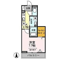 JR埼京線 戸田公園駅 徒歩9分の賃貸アパート 2階1Kの間取り